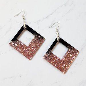 Sparkling Square Large Dangle Earrings Black Pink